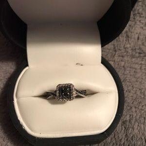White gold black and white diamond ring
